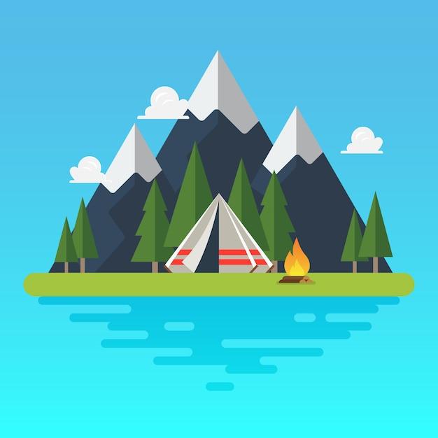 Tente de camping avec paysage Vecteur Premium