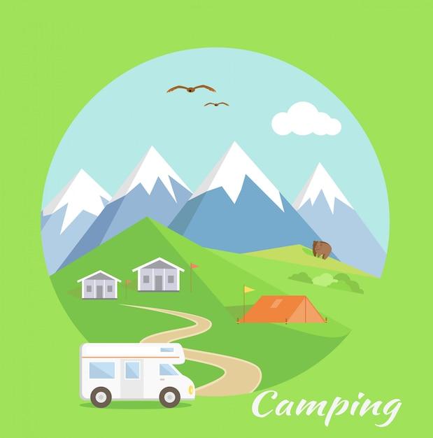 Tente de camping près des montagnes Vecteur Premium