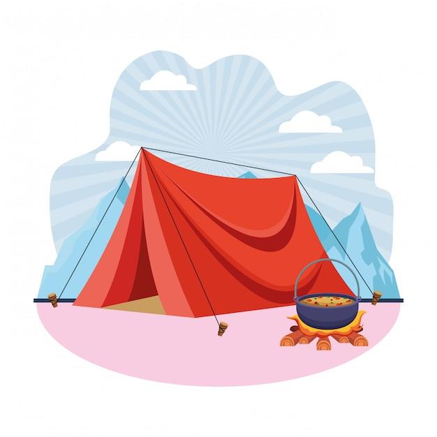 Tente de camping et soupe cuisson au feu de joie Vecteur Premium