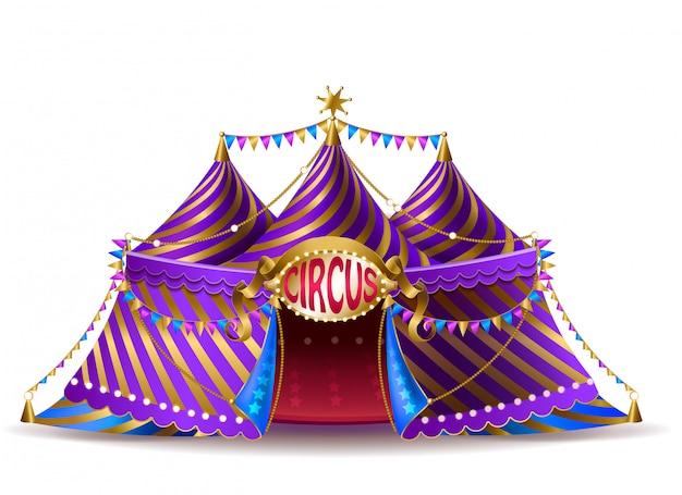 Tente de cirque rayé réaliste 3d avec des drapeaux et un panneau lumineux pour les représentations Vecteur gratuit