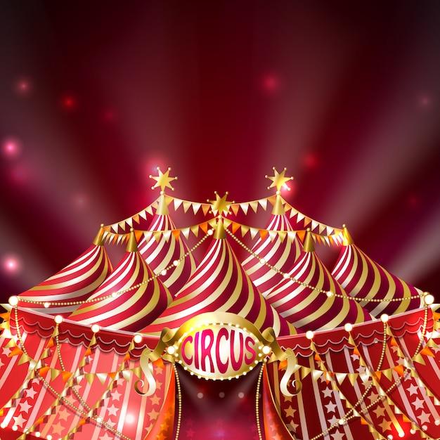 Tente de cirque rayée avec drapeaux dorés, étoiles et enseigne lumineuse Vecteur gratuit