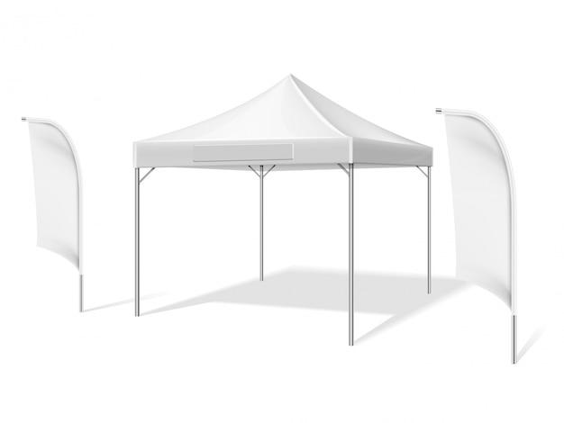 Tente D'événement En Plein Air Blanc Vide Avec Battant Matériel Drapeaux Vector Illustration Isolé Vecteur Premium
