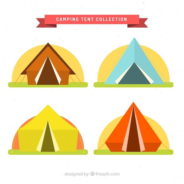 Tentes de camping coloré situé dans le design plat Vecteur gratuit
