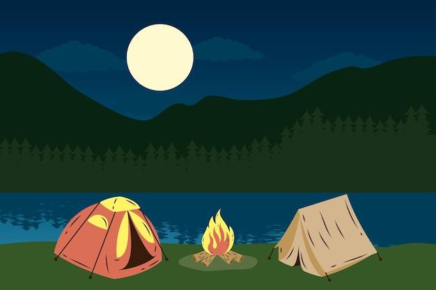 Tentes De Camping Avec Feu De Camp Dans Le Lac Pendant La Nuit Vecteur Premium