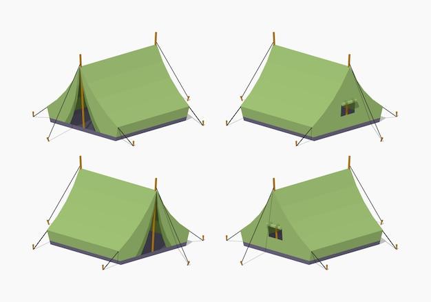 Tentes isométriques 3d lowpoly de camping vert Vecteur Premium