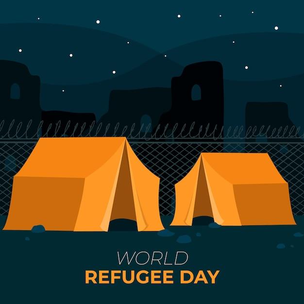 Tentes Pour La Journée Mondiale Des Réfugiés Vecteur gratuit