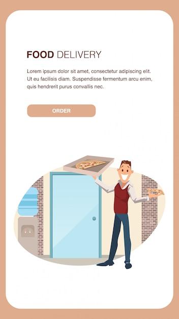Tenue de bureau pour homme employé de pizza delivery. modèle de bannière Vecteur Premium