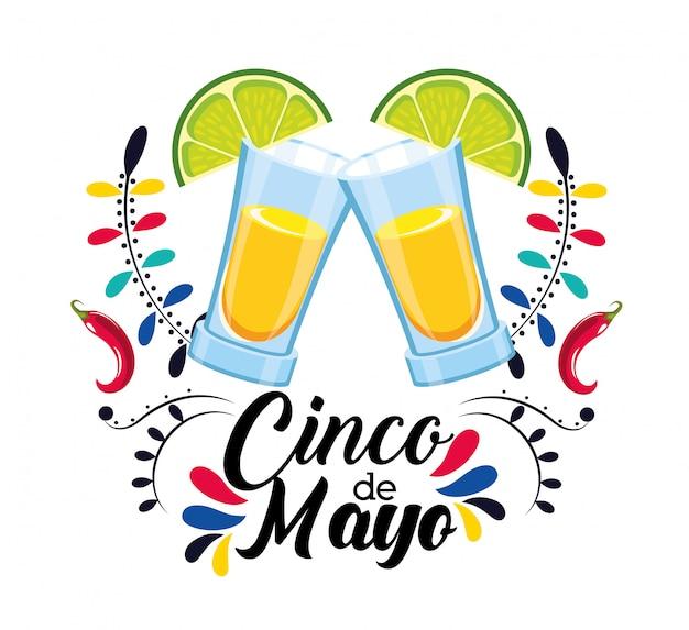 Tequila boisson au citron à événement mexicain Vecteur Premium
