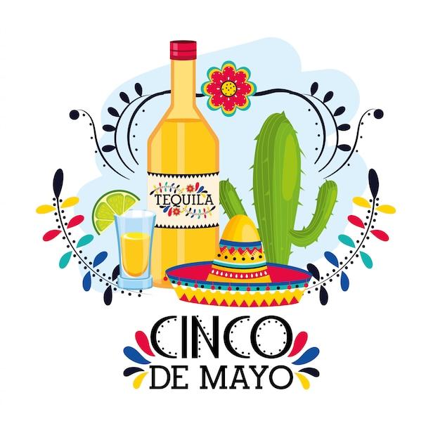 Tequila Avec Chapeau à L'événement Mexicain Traditionnel Vecteur Premium