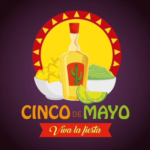 Tequila avec nachos et sauce d'avocat à l'événement Vecteur gratuit