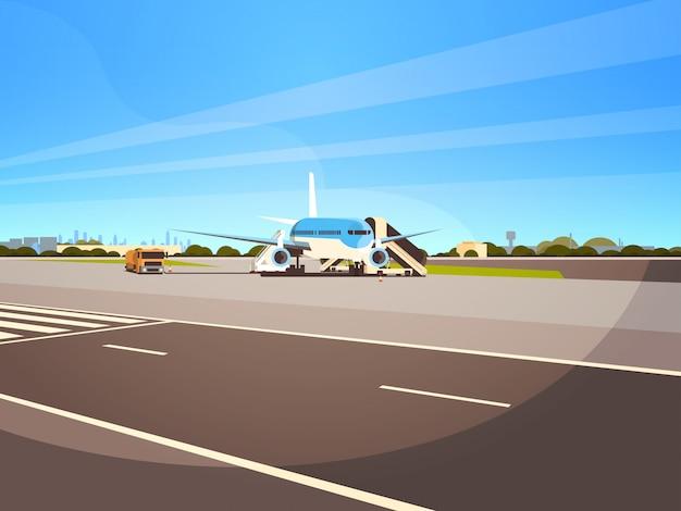 Terminal D'aéroport Avion Volant Avion Décollant En Attente D'embarquement Des Passagers Illustration Paysage Urbain Vecteur Premium