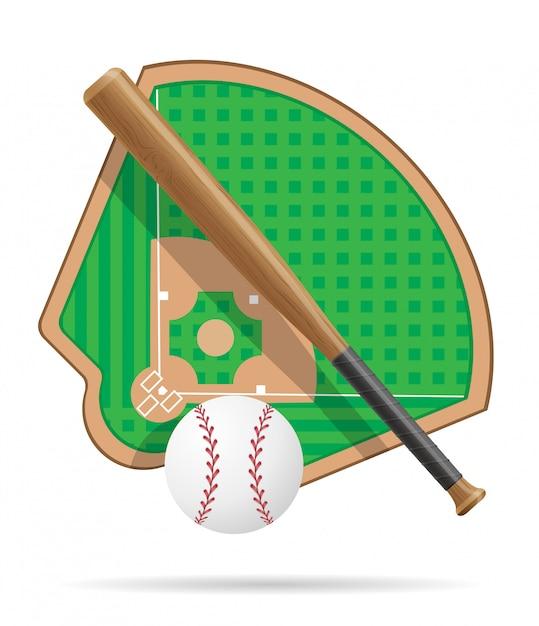 Terrain de baseball Vecteur Premium