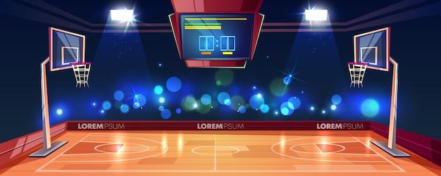 Terrain de basket-ball éclairé par des lumières de stade, un tableau d'affichage et une lampe de poche Vecteur gratuit