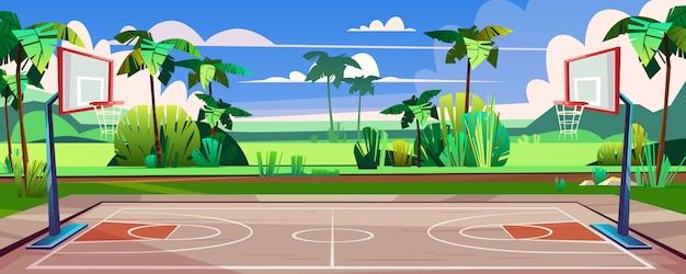 Terrain De Basket Dans La Rue Vecteur gratuit