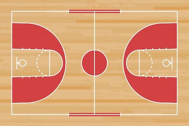 Terrain de basket avec une ligne sur fond bois. Vecteur Premium