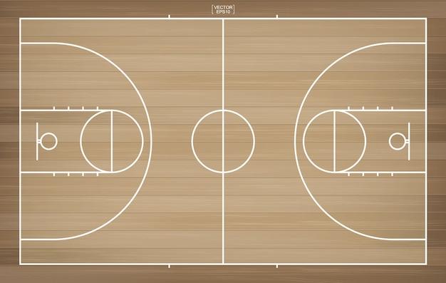 Terrain de basket pour le fond Vecteur Premium