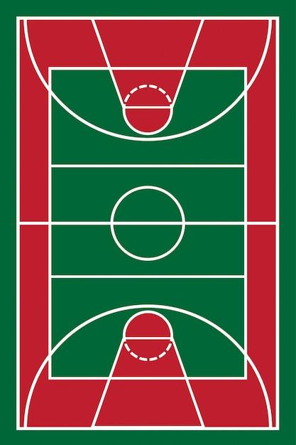Terrain de basketball Vecteur Premium