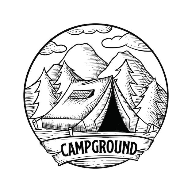 Terrain de camping dessiné à la main Vecteur Premium