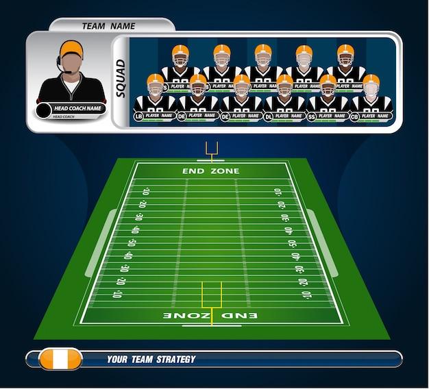 Terrain de football américain avec ensemble d'éléments infographiques Vecteur Premium