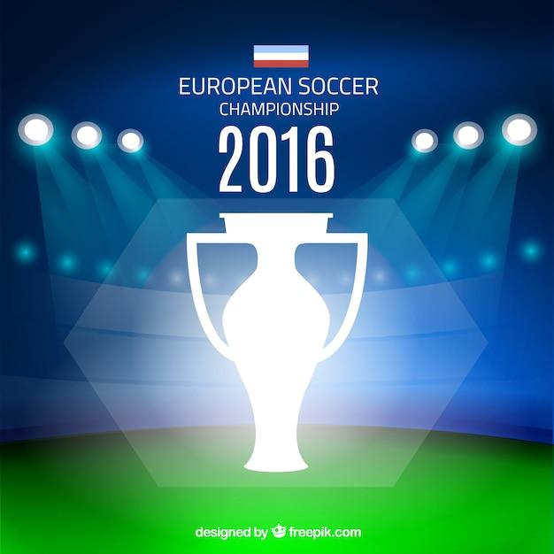 Terrain de football avec des spots arrière-plan de l'euro 2016 Vecteur gratuit