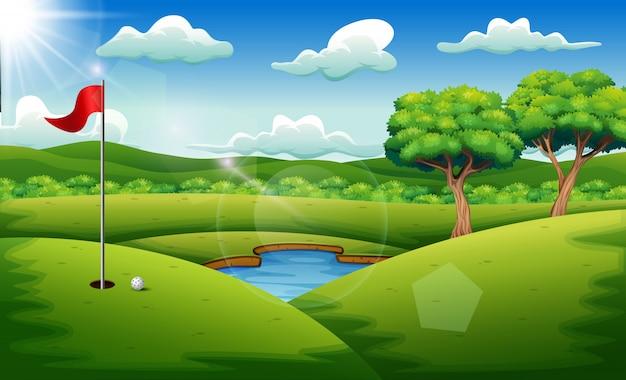 Terrain de golf sur le fond du paysage Vecteur Premium