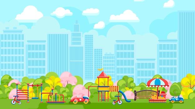 Terrain de jeu coloré dans la ville   Télécharger des Vecteurs Premium