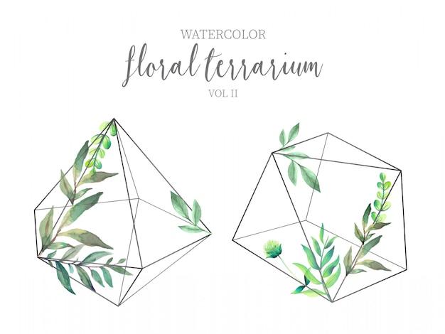 Terrarium floral aux feuilles vertes vol Vecteur gratuit