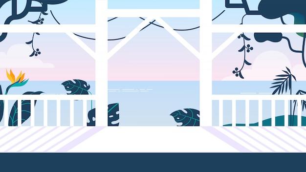 Terrasse lumineuse avec clôture blanche et vue sur la mer Vecteur Premium