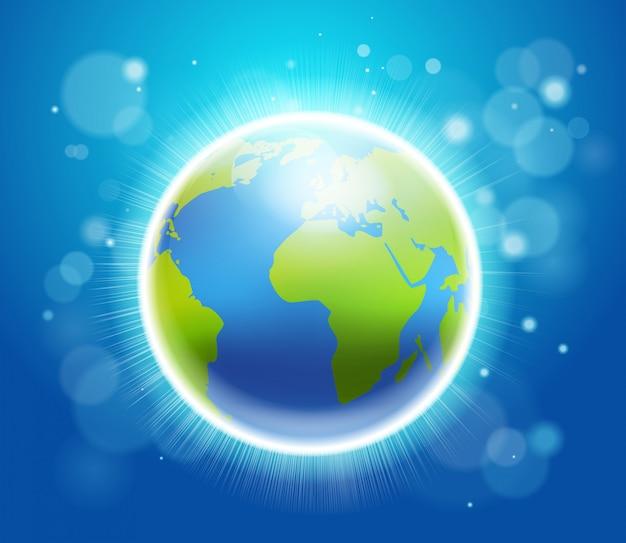 Terre brillante sur bleu Vecteur Premium