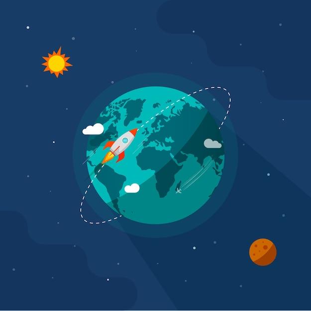 Terre Dans L'illustration De L'espace, Vaisseau Spatial De Fusée Volant Autour De L'orbite De La Planète Sur L'univers Du Système Solaire Vecteur Premium