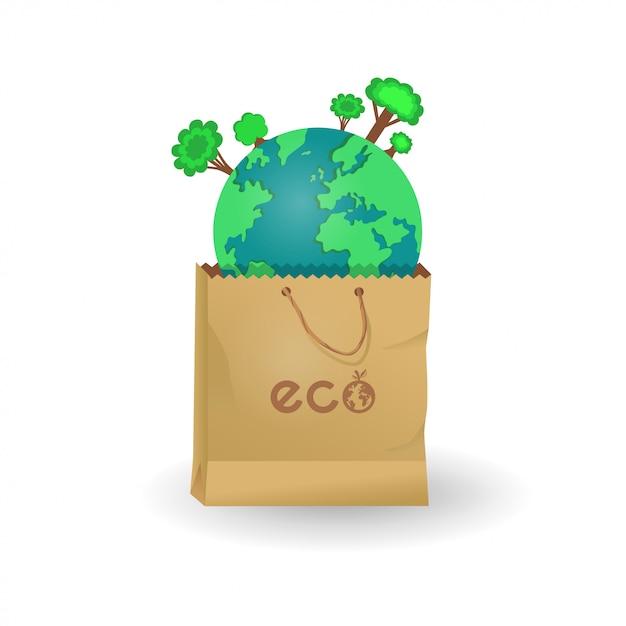 Terre dans des sacs en papier et en plastique Vecteur Premium