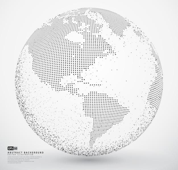 Terre à globe en pointillés abstraite Vecteur Premium