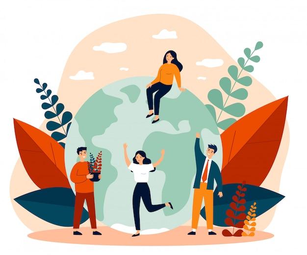 Terre, Hommes Avec Plantes Et Femmes Illustration Vectorielle Plane Vecteur Premium