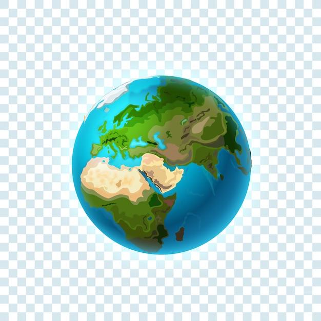 Terre Réaliste Isolé Sur Transparent Vecteur Premium