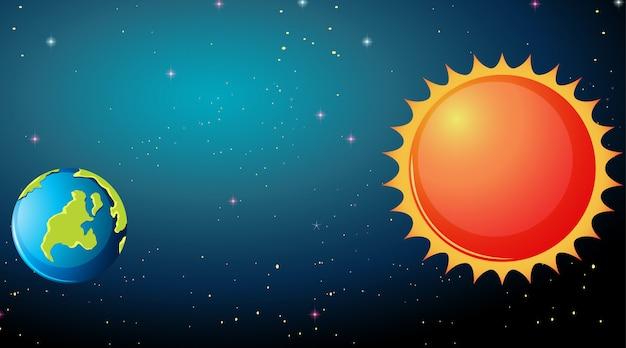 Terre et soleil Vecteur gratuit