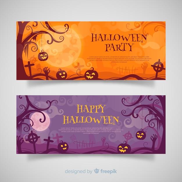 Terrirfic halloween bannières au design plat Vecteur gratuit