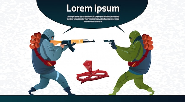 Terrorisme armé terroriste groupe masque noir arme mitrailleuse Vecteur Premium