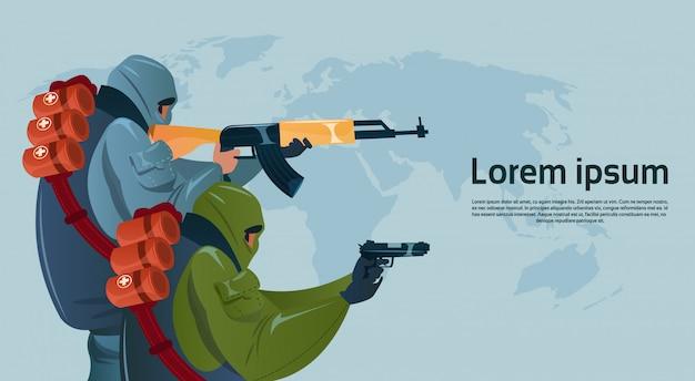 Terrorisme armé terroriste masque noir tenir arme mitrailleuse planifier attaque mondiale Vecteur Premium