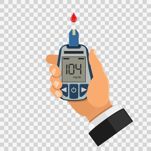 Test De Glycémie, Surveillance Et Diagnostic Du Diabète Vecteur Premium