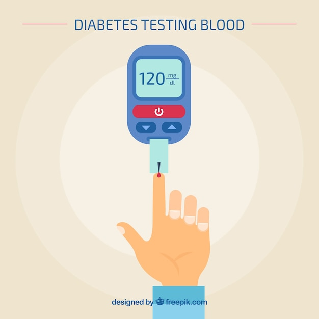 Test sanguin de diabète avec un design plat Vecteur gratuit