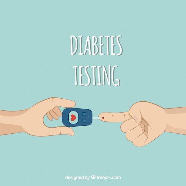 Test sanguin de diabète dessinés à la main Vecteur gratuit