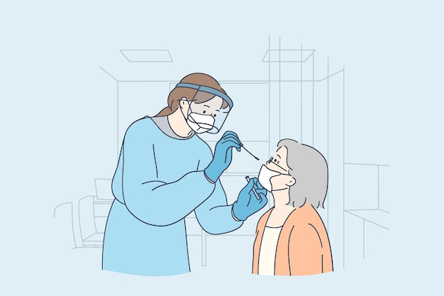 Tests De Santé Et Médicaux Pour L'illustration Du Concept Covid-19 Vecteur Premium
