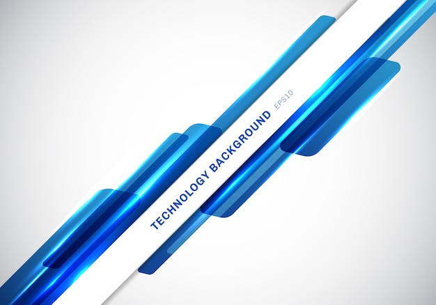 En-tête abstrait bleu des formes géométriques brillantes Vecteur Premium
