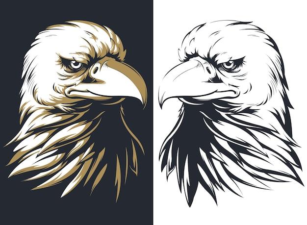 Tête D'aigle Chauve Silhouette Isolée, Mascotte De Logo Sur Le Style Noir Et Blanc Vecteur Premium
