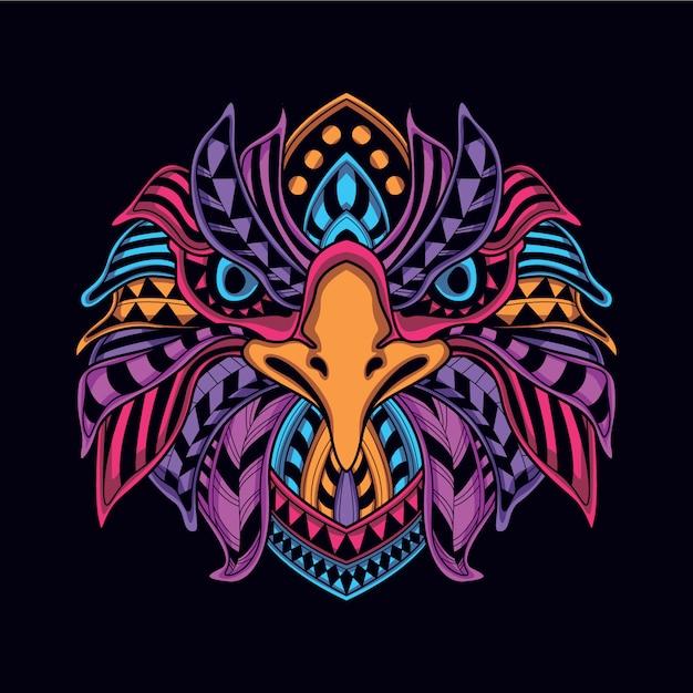 Tête d'aigle décorative de couleur néon brillant Vecteur Premium