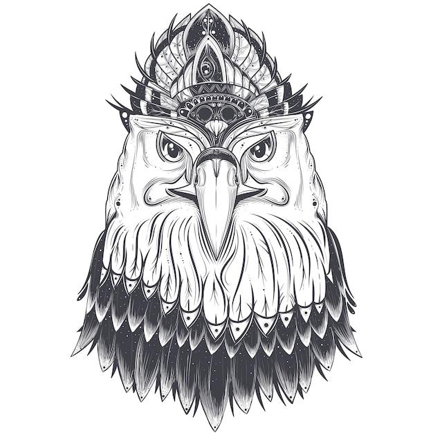 Tête d'aigle avec peigne à plumes Vecteur gratuit