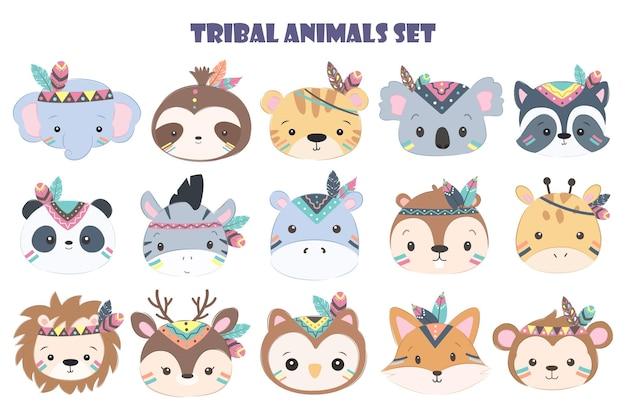 Tête D'animal Tribal Mignon Pour La Décoration Des Enfants Dans L'ensemble Vecteur Premium
