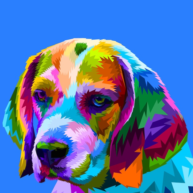 Tête beagle colorée Vecteur Premium