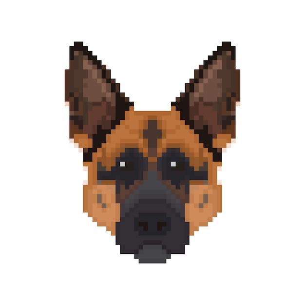 Tête De Berger Allemand Dans Le Style Pixel Art