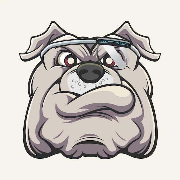 Tête de bulldog cyborg Vecteur Premium